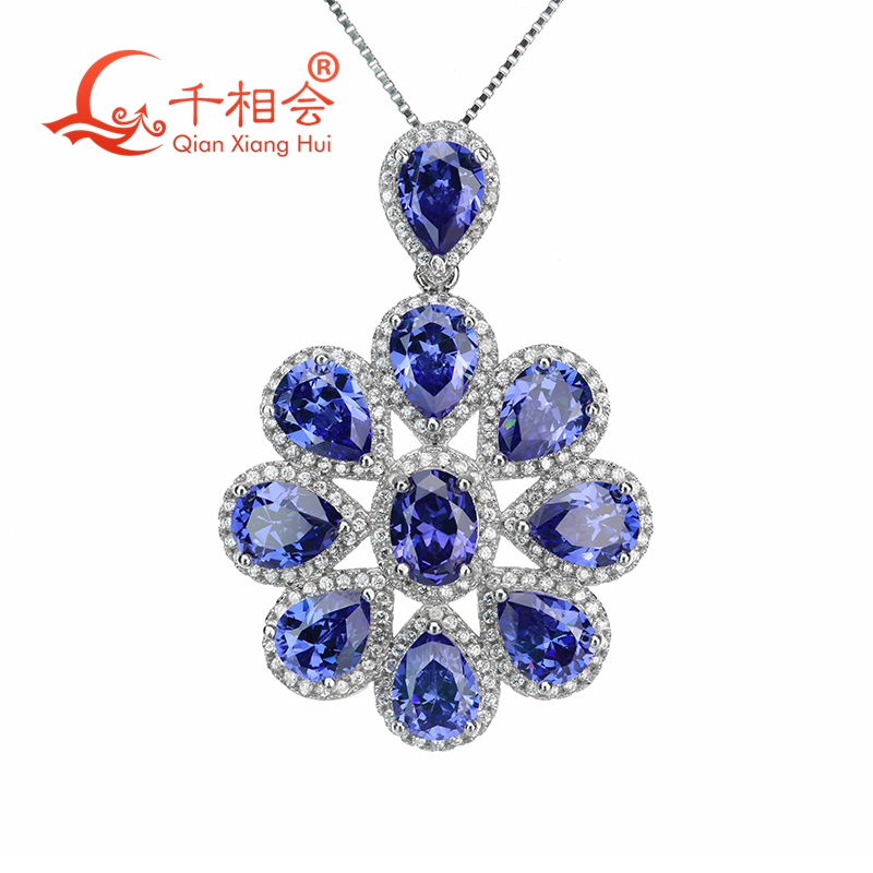 cubic zirconia flower shape pendant with 925 sliver chain necklace for jewelry stylish rhinestoned flower spiral shape pendant necklace for women