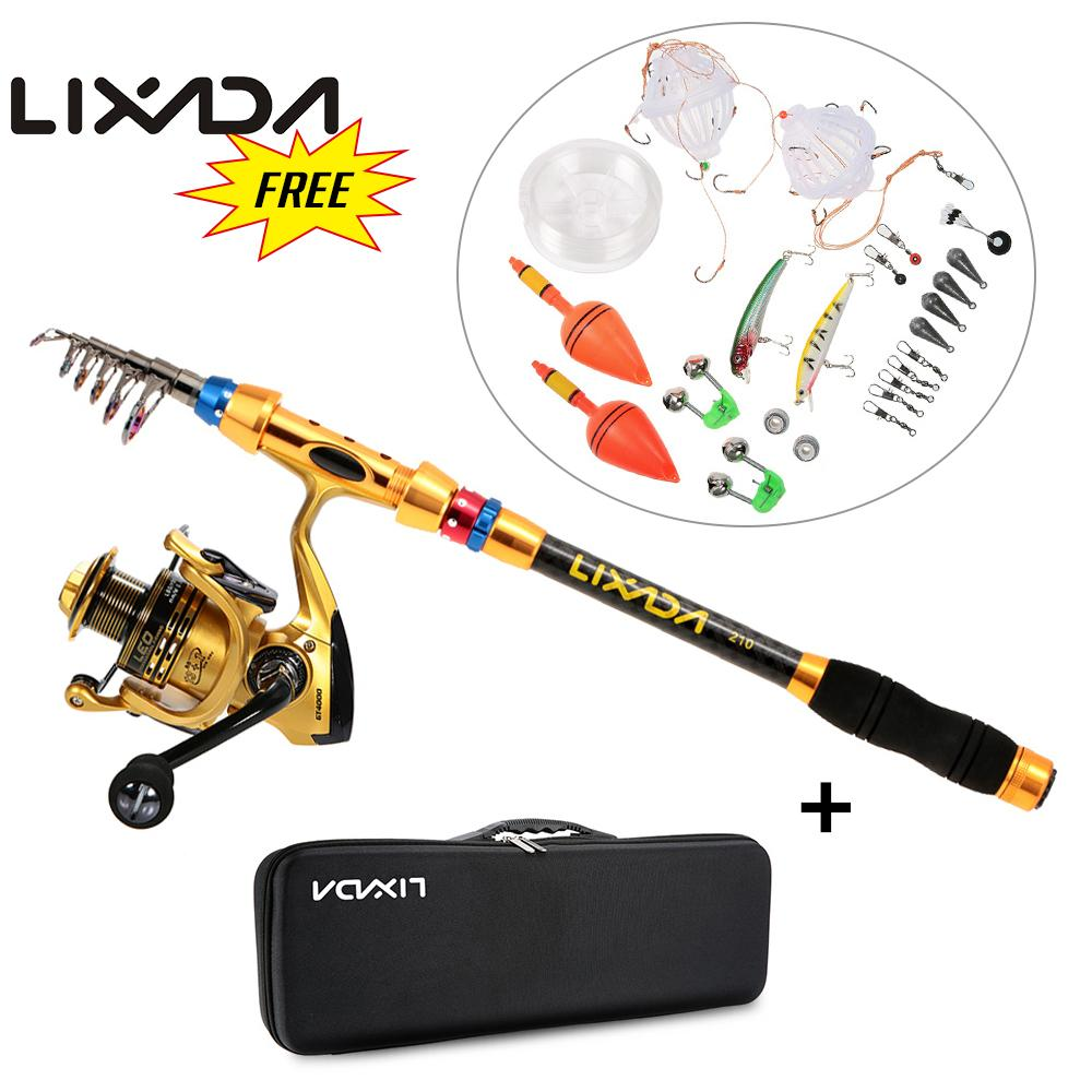 Lixada Portable Lure Rod Set Spinning Rod Reel Combos Full Kit Telescopic Fishing Line Hook FCarrier Bag Case Fishing Gear Pesca