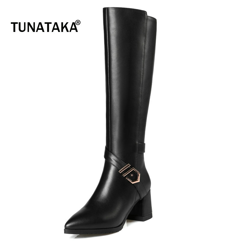 Woman Genuine Leather Winter Warm Short Plush Buckle Knee High Boots Fashion Pointed Toe Square High Heel Calf Boots Black winter female woman round high engraving heel mid high rhinestone crystal buckle black real leather boots pointed toe shoe 1118