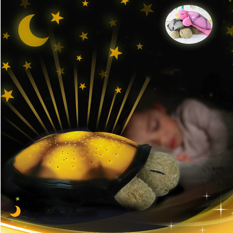 Musical Turtle Led Night Light Star Atmosphere Projector Light Novelty Plush Toy Lamp for Lighting Bedroom Baby Sleep Christmas