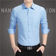 YeddaMavis Men's Dress Shirts Men Fashion Cotton Shirts Long-Sleeve Camisa Masculina Slim Fit Camisa Social Casual Blue Shirts цена