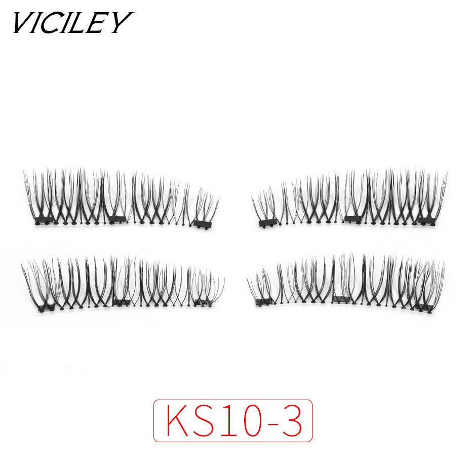 VICILEY Magnetic eyelashes 3D false eyelashes with 3 magnets Handmade cilios wholesale Eye Lash Extension Makeup KS10-3