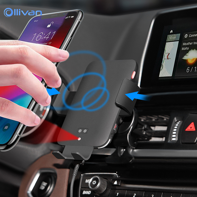 C12 Qi Car Wireless Charger For Samsung S10 S8 Intelligent Voice Control Infrared Fast Charging for