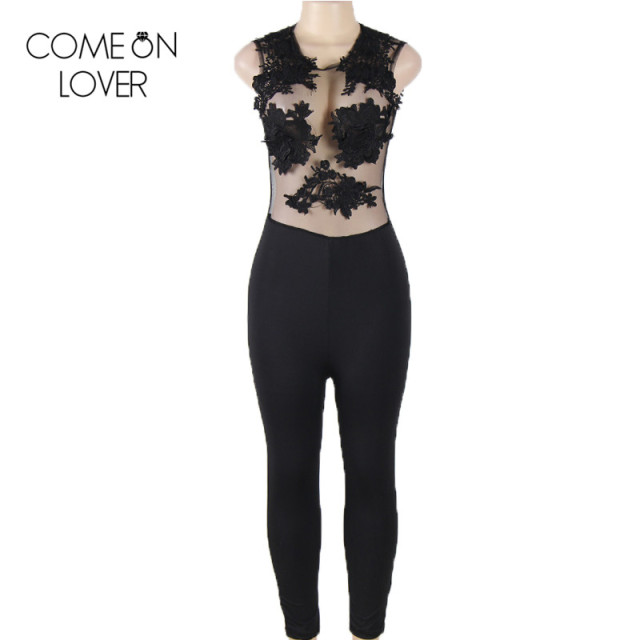 RE80235 Comeonlover O-neck sleeveless summer jumpsuit fashion lace and wet look jumpsuit hot transparent women sexy bodysuit