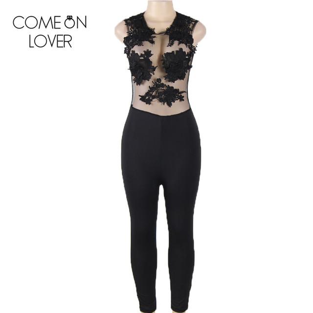 RE80235 Comeonlover O-pescoço sem mangas verão macacão moda rendas e olhar molhado jumpsuit hot mulheres sexy bodysuit transparente