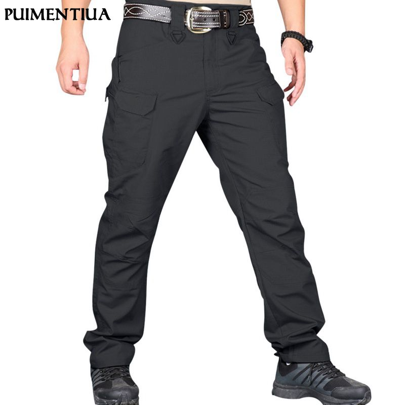 COLINNA Mens Loose Cotton Outdoor Cargo Pants Wild Multi-Pockets Outdoor Sport Pants
