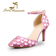 99db604a67b9 2018 handmade Crystal Diamond Sandals Pointed Toe Pink Wedding Shoes for  Bride Dress party Shoes High Heels Hot valentine shoes