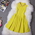 Nueva Primavera Otoño Invierno Mujeres Vestidos de Amarillo Azul Rebordea la Bola del Collar Sin Mangas del Vestido Evento Marca la Vendimia de La Manera