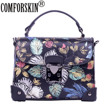 COMFORSKIN Brand New Arrivals Fashion Flower Genuine Leather Women Handbag 2019 High Quality Travelling Messenger Bag For