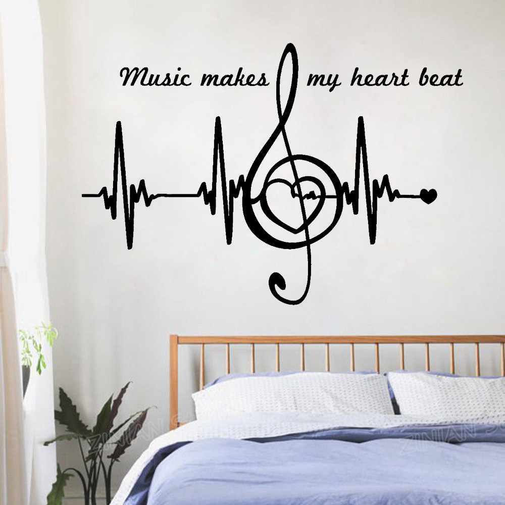 Music Notes Quote Wall Decals Bedroom Home Decor Heart