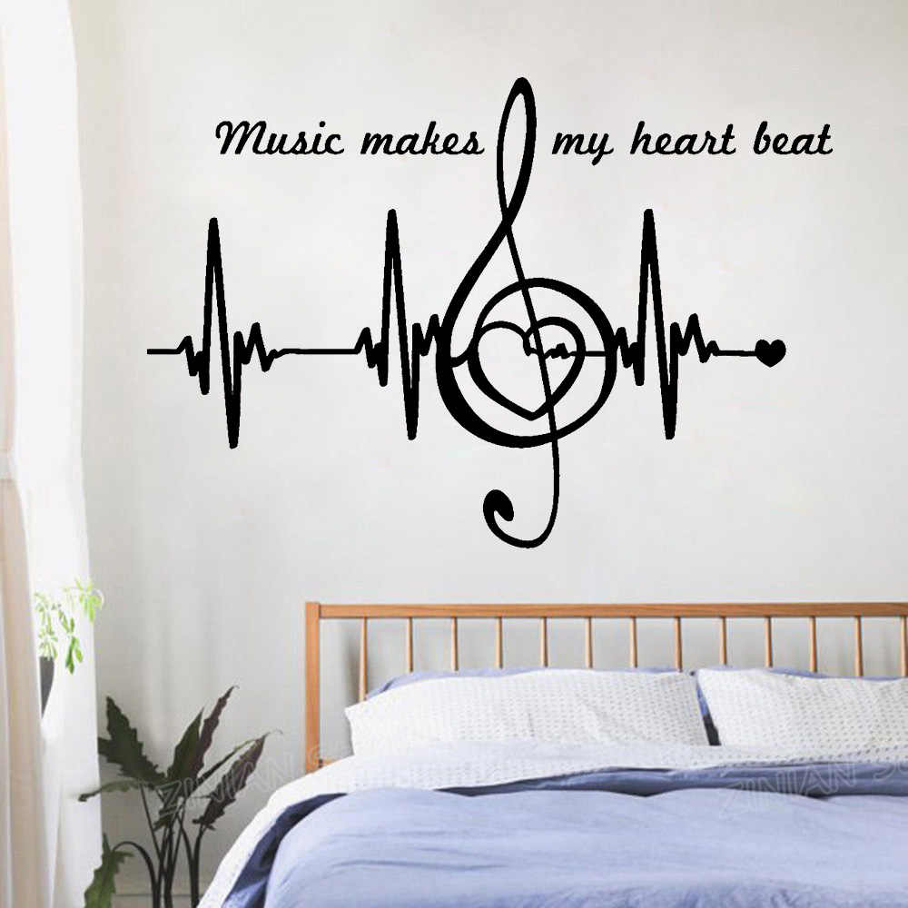 Music Notes Quote Wall Decals Bedroom Home Decor Heart Pulse Heartbeat Art  Stickers Wallpaper Creative Pure Color Sticker Z890
