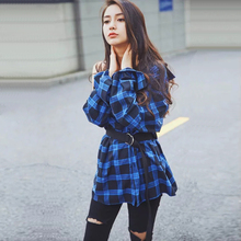 Women Clothes Plaid Shirt Long Black Sleeve Cotton Blouse Tee Shirt Femme Top Blazer Tartan Clothes blusas Plus Size