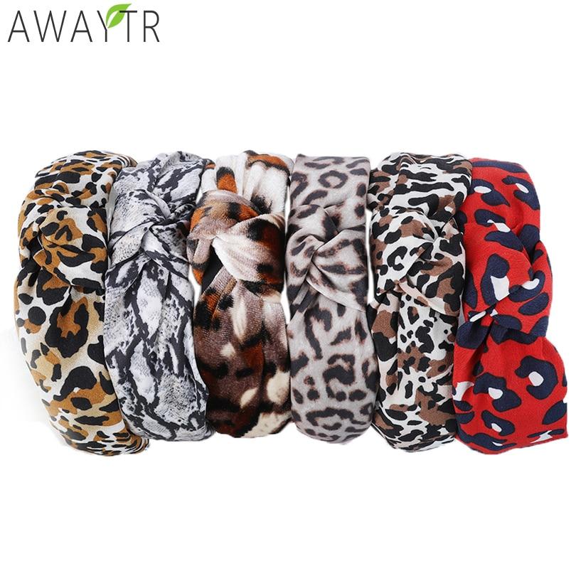 AWAYTR Leopard Snake Print Women's Headbands Ladies Velvet Elastic Cross Hairbands Knotted Head Band Of Women Hair Accessories