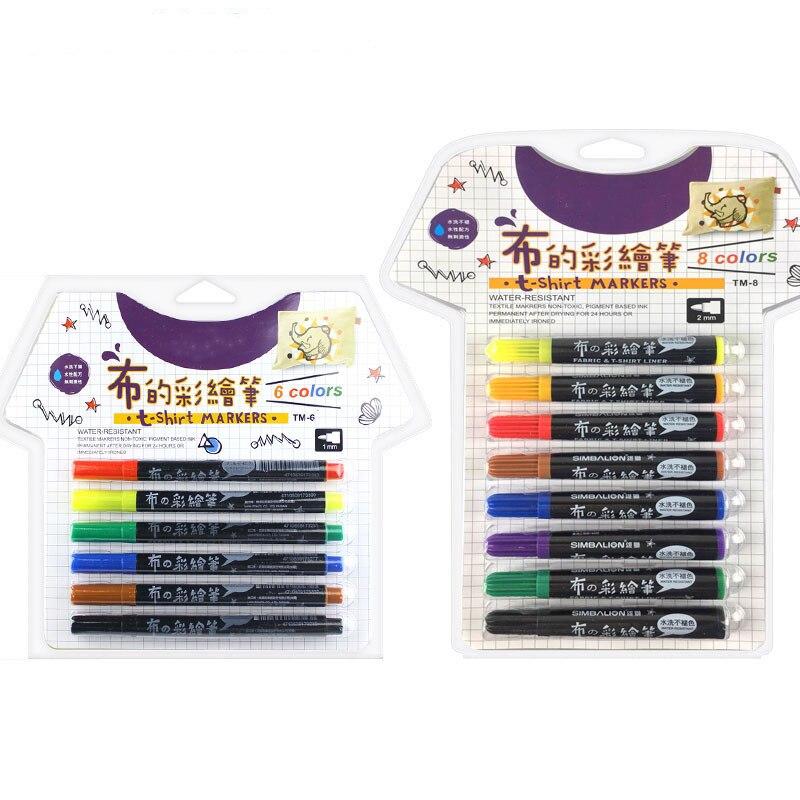 Tissu et T-shirt Liner Textile Art marqueur 6 couleurs ensemble encre permanente tissu peinture couleur bricolage Design