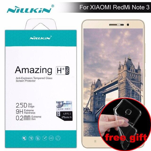 Caja de regalo) redmi note 3 Protector de pantalla de Nillkin increíble H/H + PRO vidrio templado para xiaomi redmi note 3 pro redmi note 3 película