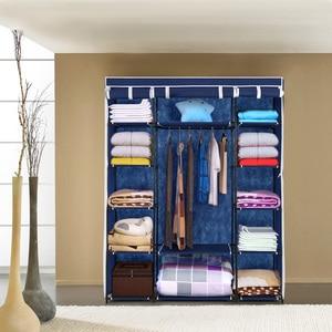 iKayaa Modern Portable Fabric Closet Storage Organizer Roll Up Clothing Wardrobe Cabinet Clothes Hanger Rack