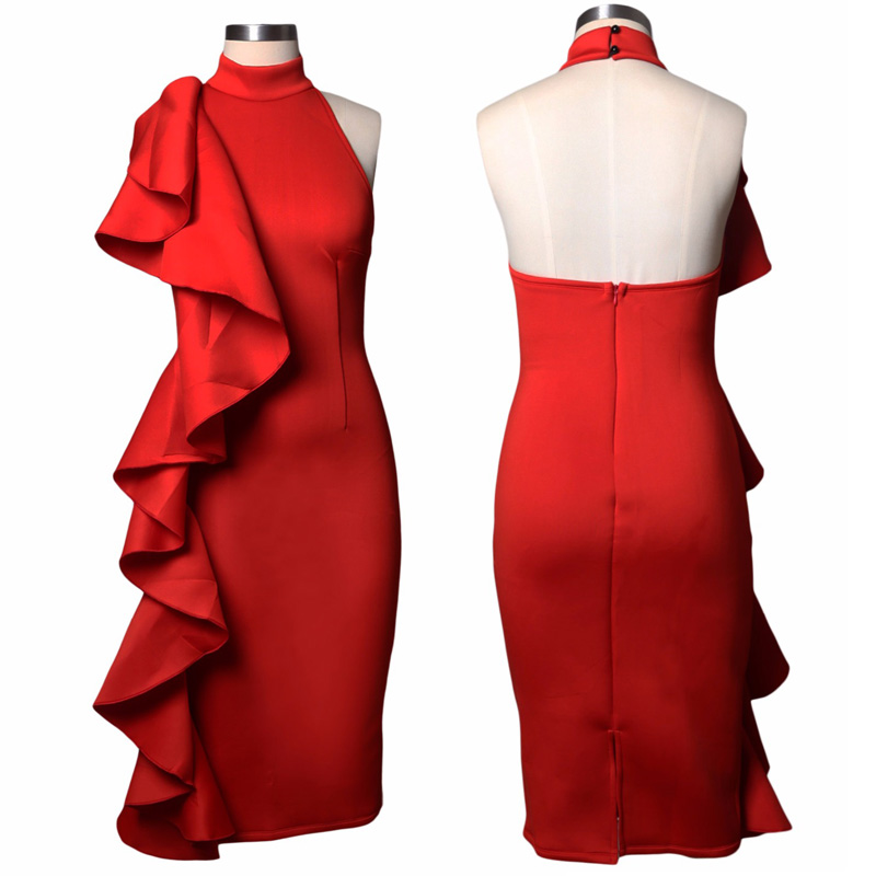 ADEWEL 2017 Women Big Ruffles Midi Elegant Dress Sexy Open Back Bodycon Party Dress High Neck Vintage Pencil Dress 5