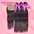7A Peruvian Virgin Hair Silk Base Closure With Bundles 4Pcs Lot Unprocessed Straight Human Hair 3 Bundles With Silk Base Closure