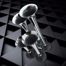 Promo 5PCS Universal High Quality Durable 150.2db Silver Chrome Plated Zinc Alloy 4-Trumpet Train Air Horn Kit