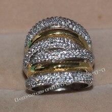 choucong Eternity 236pcs Stone 5A Zircon stone 14KT White&Yellow Gold Filled Women Engagement Wedding Band Ring Sz 5-11