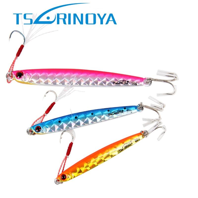 Tsurinoya Metal Jig Spoon Fishing Lure 60g 10cm Lead Fish Iscas Artificial Baits Deep Water Boat Fishing Hook Cuilleres De Peche