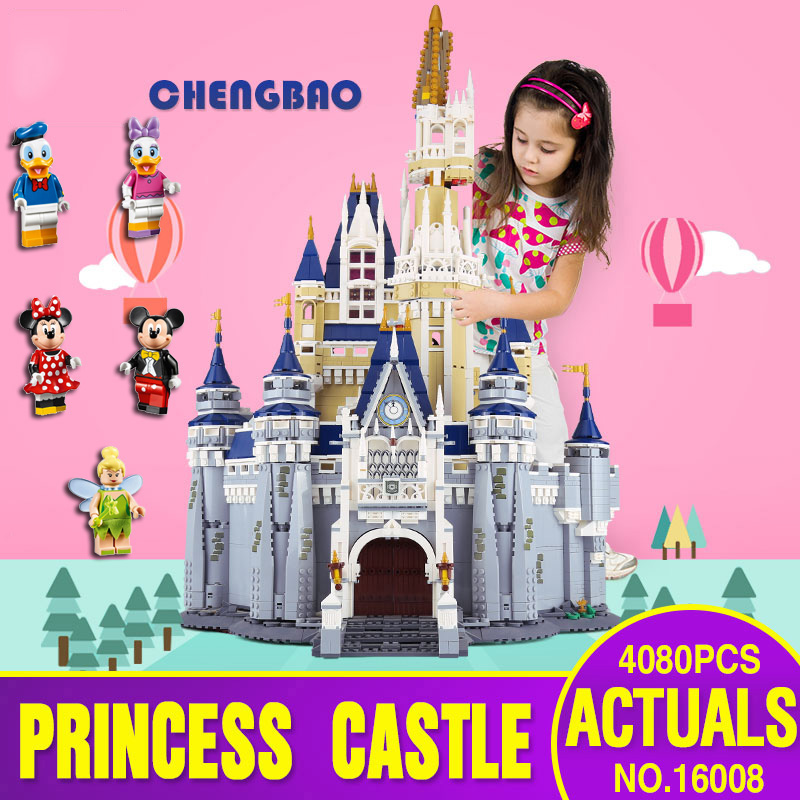 DHL 16008 Cinderella Princess Castle City 4080pcs Model Educational Building Block Kid Toys Gift Compatible with