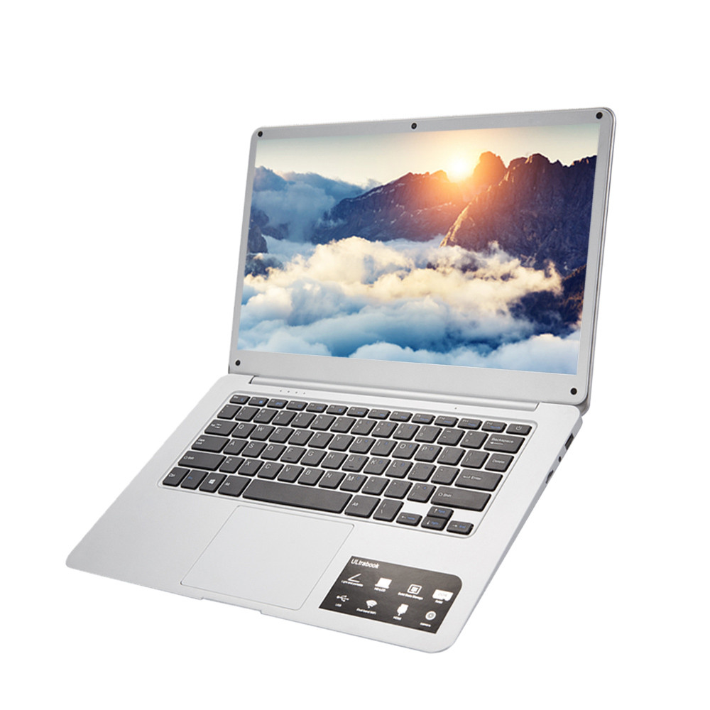 New Ultra-thin Quad-Core Laptop 14'' Screen Display 1366*768pixel 4G+64G Windows10 18Jun21 Drop Ship F