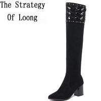 Short Plush RhineStone Genuine Leather Women Long Boots Winter Nubuck Leather Pure Color High Heels Zipper