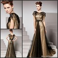 Sexy 2017 A-line High Collar Cap Sleeves Gold Black Squins Long Prom Dresses Prom Gown Evening Dresses Party Evening Gown