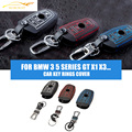 car styling Leather car key rings cover case kits holder for BMW 3 5 series GT X1 X3 X4 X5 X6