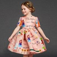 New 2015 Designer Girl Autumn Winter Style Short Sleeve Cotton Cartoon Dress Kids Warm Clothes Baby