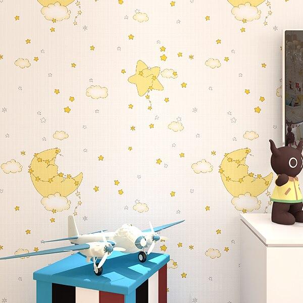 Купить с кэшбэком Kids Room Wallpaper Boy Girl Bedroom Eco Non Woven Cartoon Cute Star Moon Wall Paper Roll
