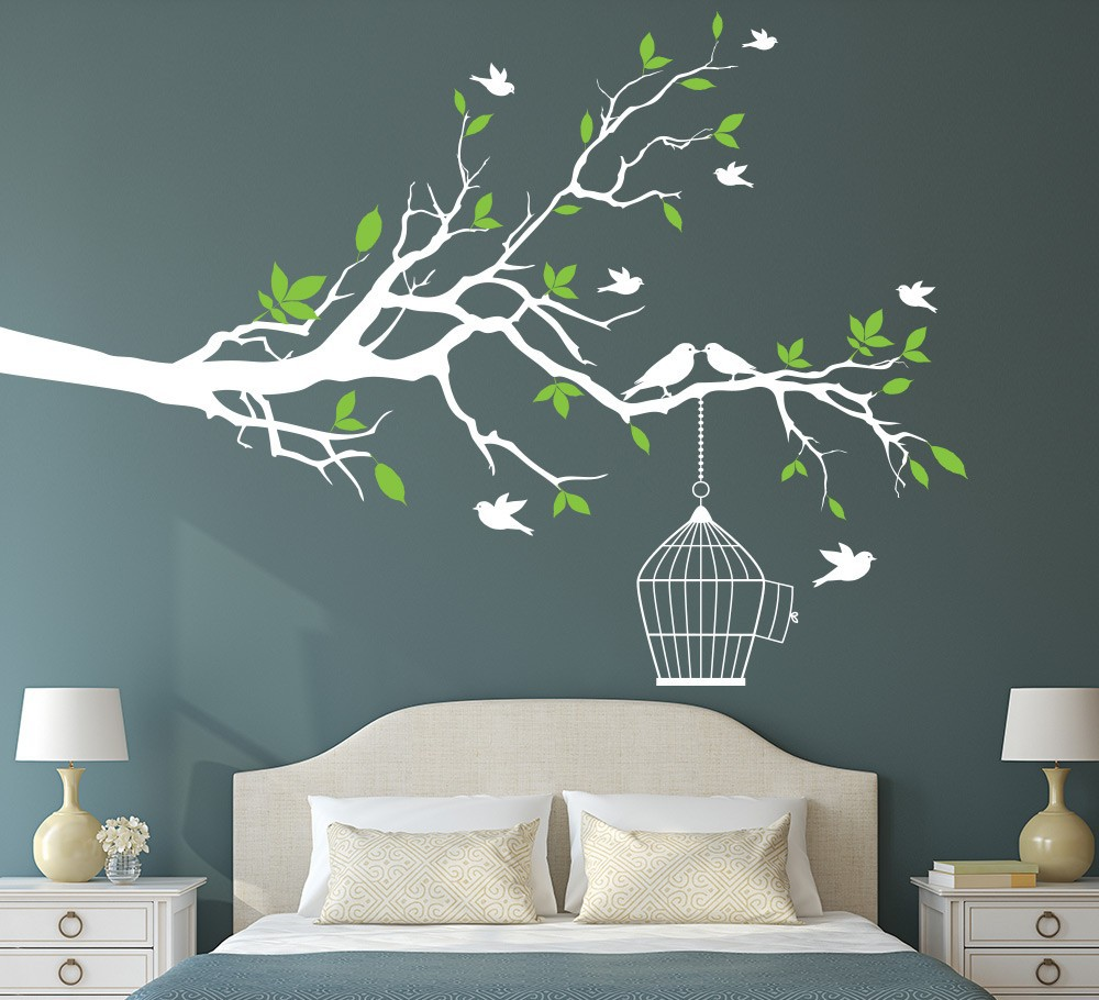 Tree Branch Wall Art Sticker With Bird Cage Removable Vinyl Decals Stickers For Living Room Home Office Decor In From Garden