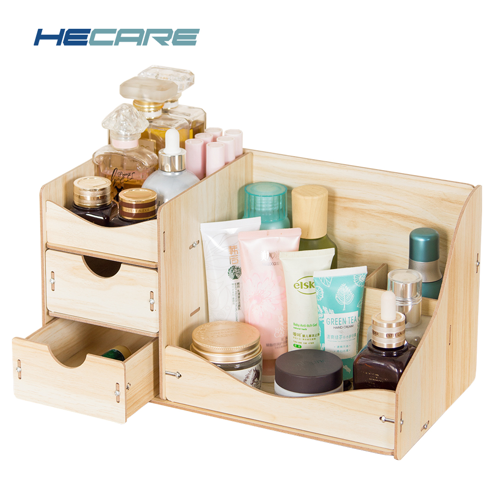 Home Desktop Wooden Cosmetic Organizer Pink Blue Bathroom Makeup Storage Drawer Organizer Large Capacity Case for Cosmetics 2018 ...