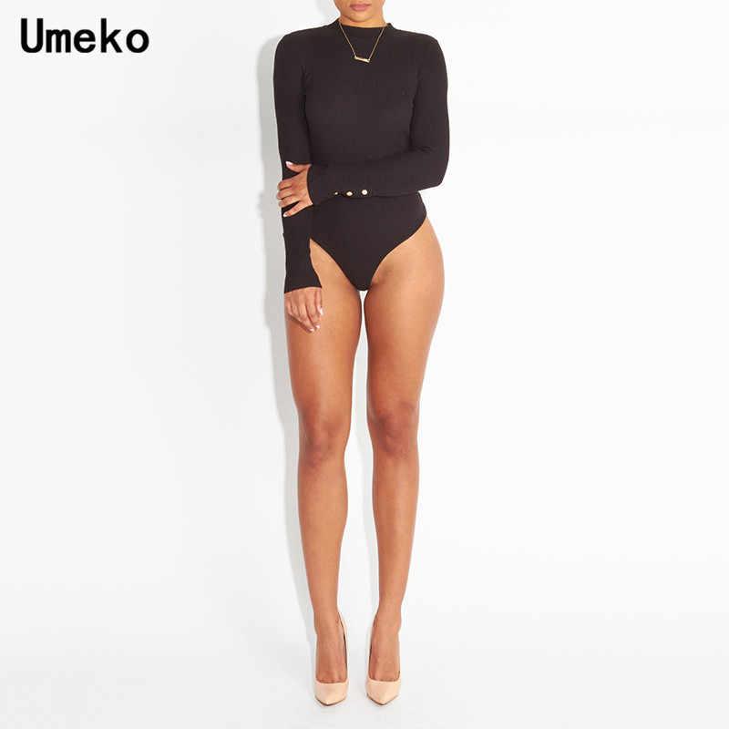 Umeko Rib трикотажный эластичный облегающий костюм женский сексуальный длинный рукав макет-шеи черный серый простой обтягивающий Детский комбинезон весна-осень боди
