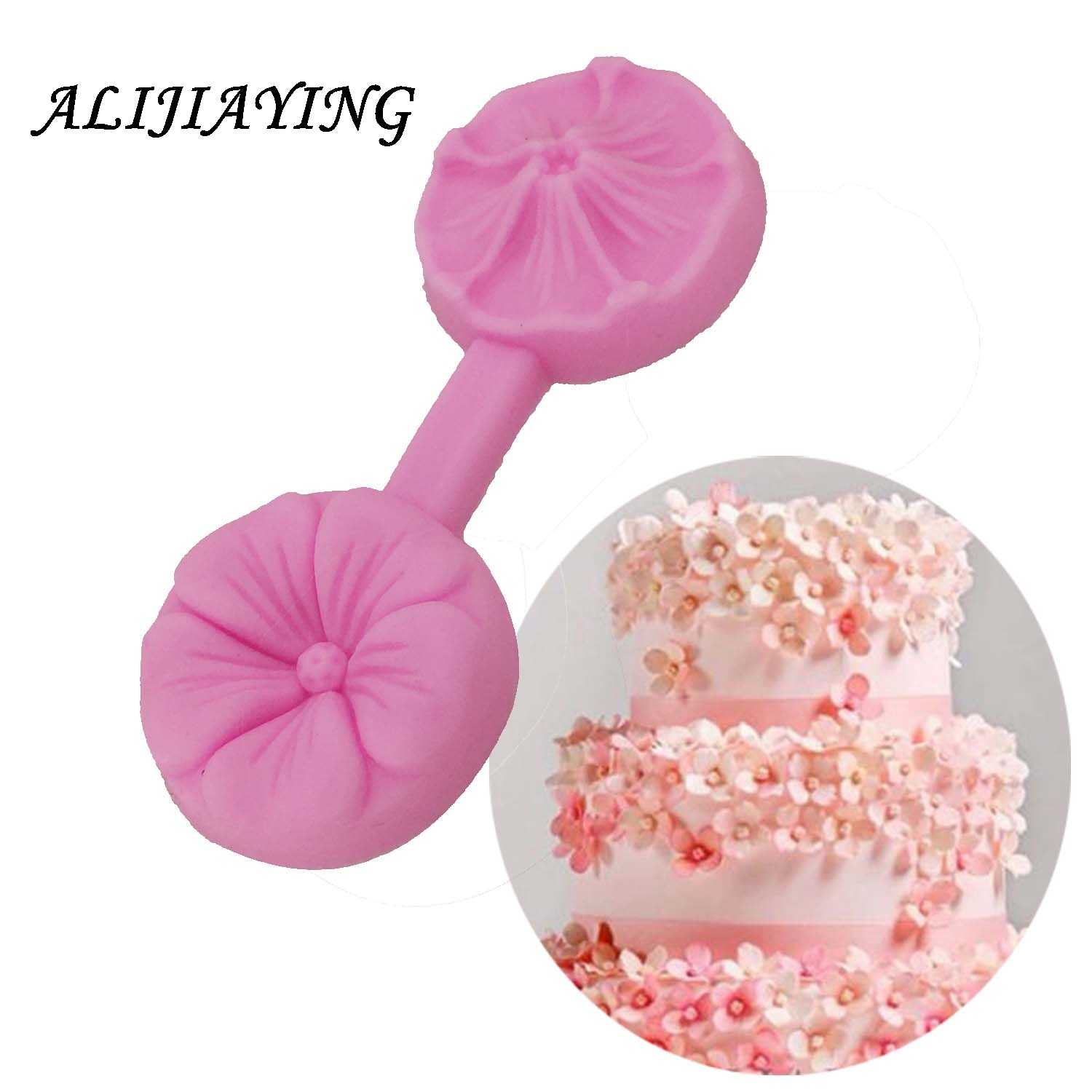 Flower Silicone Mold Sugarcraft Embossed Fondant Cake Decorating Tools Fimo Clay Candy Jelly Chocolate Gumpaste Molds D0658