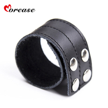 Morease Penis Rings Sleeves Cage PU leather Cock Chastity Cockring Sex Toy Delaying Ejaculation For Men Male brinquedos