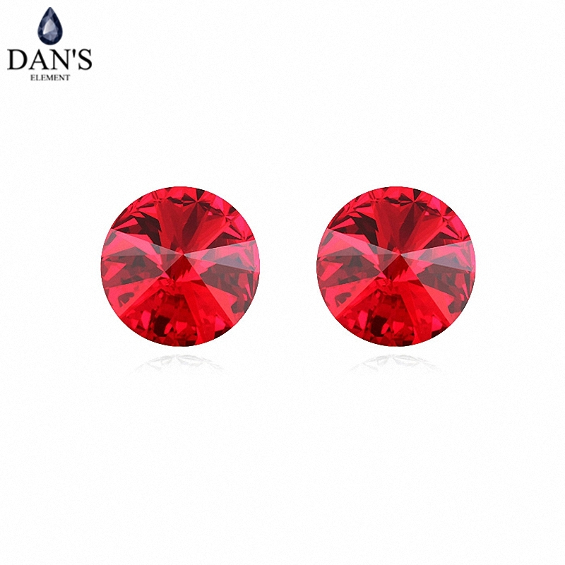 DANS 7 Colors Real Austrian crystals Stud earrings for women Earrings s New Sale Hot Round 96552Red