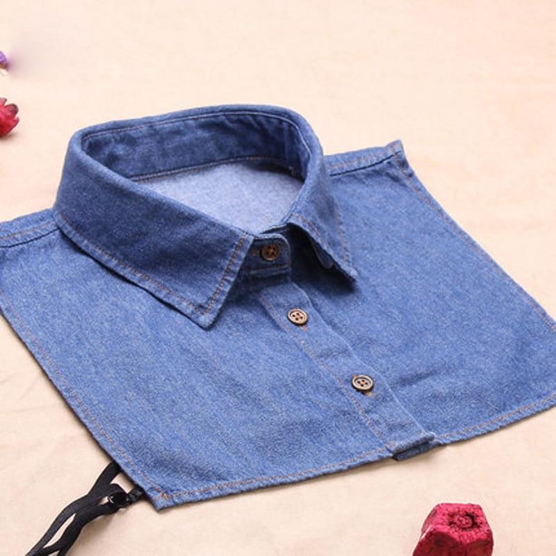 Women Fashion Detachable Collars Blue Fake Lapel Collar Clothes Accessories Detachable Shirts False Collar A114