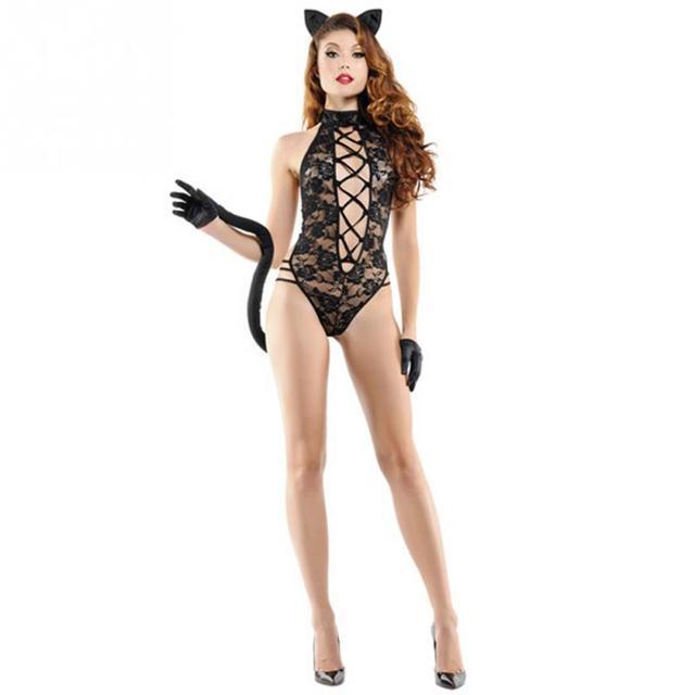 Lencería sexi de mujer picardías de encaje Mono para dormir G-string negro Floral sin mangas ropa de dormir ropa interior de peluches Lencería