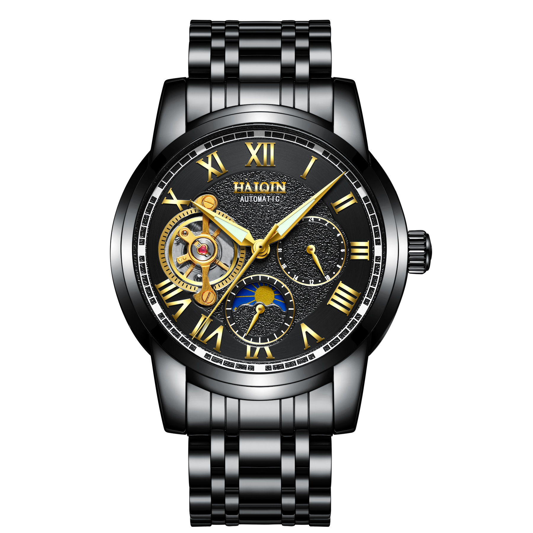 где купить mens wristwatches automatic mechanical luxury man watches waterproof moon phase Tourbillon business male clocks HAIQIN top brand по лучшей цене