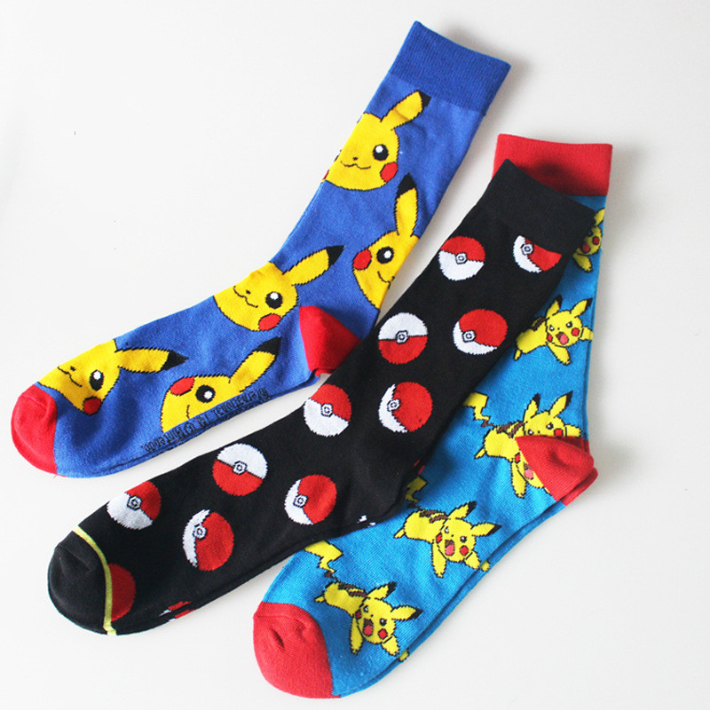 Autumn Winter Tube Soft long Warm Cotton Socks fashion new 1pair Style 3 Colors Unisex Women Men Cute Pikachu in Pokemon Cartoon
