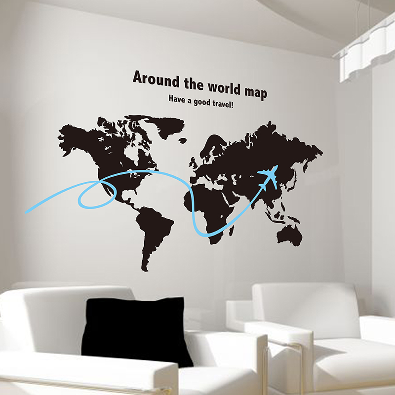 world map wall sticker airplane handmade map travel wall decals poster for living room office. Black Bedroom Furniture Sets. Home Design Ideas