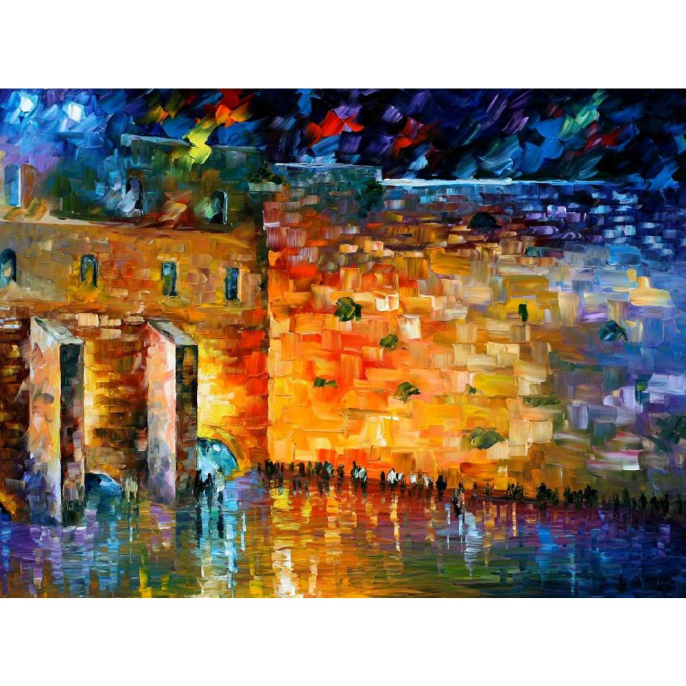 Contemporary art wailing wall knife oil painting canvas beautiful landscape pictures for room decorContemporary art wailing wall knife oil painting canvas beautiful landscape pictures for room decor
