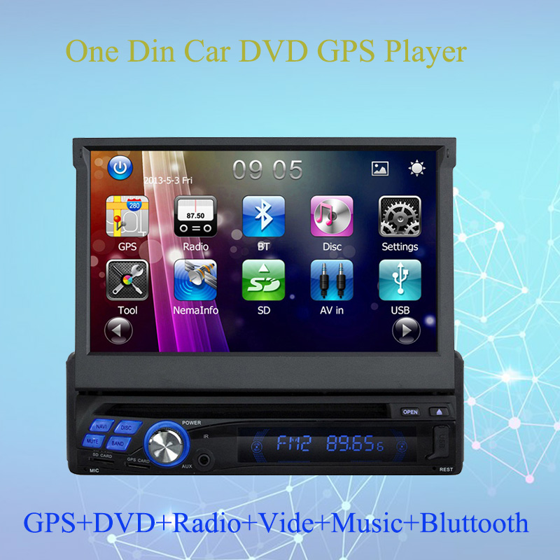 Один Din дюймов 7 дюймов выдвижной экран универсальный автомобильный DVD Радио gps мультимедийный плеер Bluetooth Авто Аудио Стерео FM USB SD