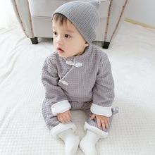 Chinese Style Baby Rompers Plus Velvet Newborn Pajamas Cotton Children Winter Jumpsuit Costume For Boys Girls Clothing