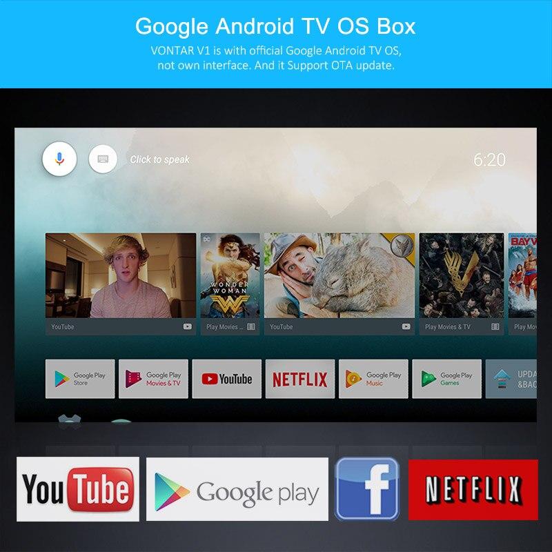VONTAR V1 2GB 16GB Smart TV BOX Android 7 1 Google TV BOX Voice Control  Remote Amlogic S905W WIFI Google Play Set top Box