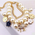 Luxury artificial crystal horse flower charm bracelets for women,Fashion gold plated simulated pearl bracelets and bangles,H113