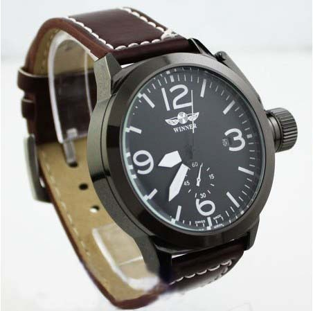 2013 Hot Sale Army Mens AUTO Day/Date Black Automatic Mechanical Watch Freeship Brown Leather Band Watch Men