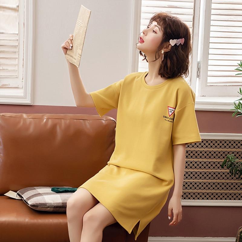 Yidanna Female O Neck Cotton   Nightgown   Short Sleeved Summer   Sleepshirt   Women Princess Sleep Clothing Cute Sleepwear Lady Nighty